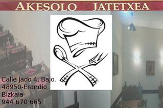 Restaurante Akesolo. Calle Jado 4, Bajo. Erandio 48950 (Bizkaia) 944 670 665