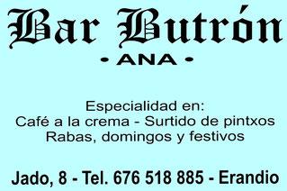 Bar Butrón. Calle Jado 8, Bajo. Erandio 48950 (Bizkaia) 676 518 885