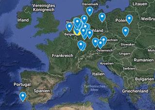 Bisherige Geistheilungstage mit Jesus Lopez in Europa, Europakarte von dem Wirken des Geistheilers Jesus Lopez, Geistheilung in Portugal, Heilung in Deutschland, Heiler in Belgien unterwegs gewesen, Seminare in Polen, Jahresausbildung in Österreich