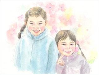 水彩 子供の似顔絵2
