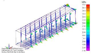 フレーム部・軸応力-曲げ応力の最大値ダイアグラム図 (変形倍率:10倍)
