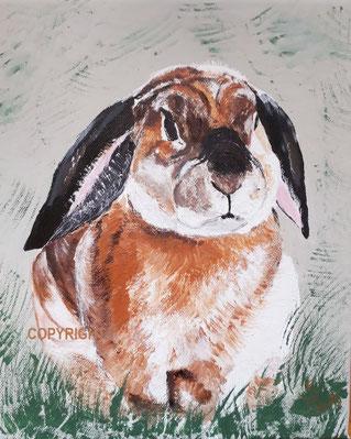 Kaninchenporträt eines braunen Kaninchens mit schwarzen langen Schlappohren. Das Kaninchen ist von vorne gemalt