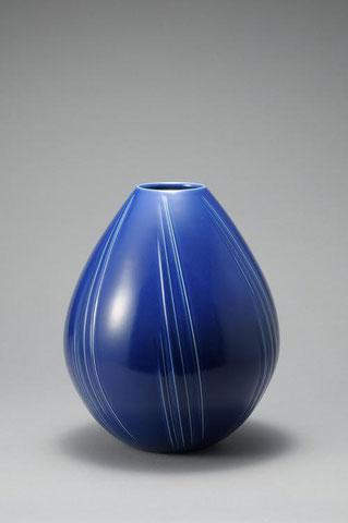 瑠璃釉壺 h36.1 × d30.4