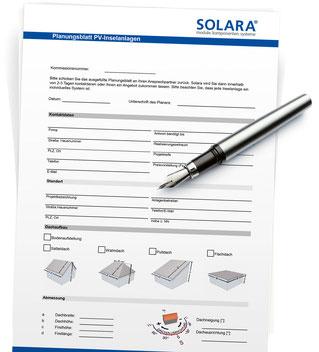 Planungsblatt SOLARA solar energy