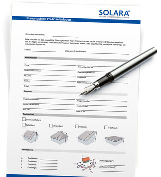 Planning sheet SOLARA solar energy systems