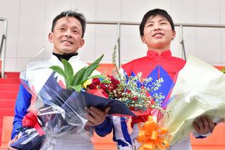 東川公則騎手、慎騎手のツーショット