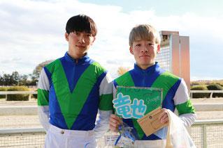 左から加藤聡一騎手(愛知)、渡邊竜也騎手