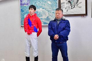 坂口義幸調教師(右)、加藤聡一騎手(左)