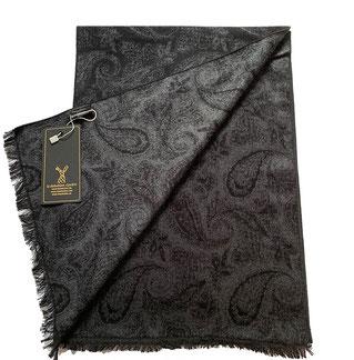 Bufanda exclusiva en 100% Seda, en negro gris
