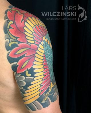 Lars Wilczinski, Tattookünstler, Tattoo-Atelier Berlin, Tattookunst, Japanische Tattoos, Japanese Tattoo, Japantattoo Motiv, Shishi, Karajishi, Löwenhund, Fudog, Tempelwächter