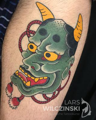 Lars Wilczinski, Tattookünstler, Tattoo-Atelier Berlin, Tattookunst, Japanische Tattoos, Japanese Tattoo, Japantattoo Motiv, Hannya, Hannya-Maske