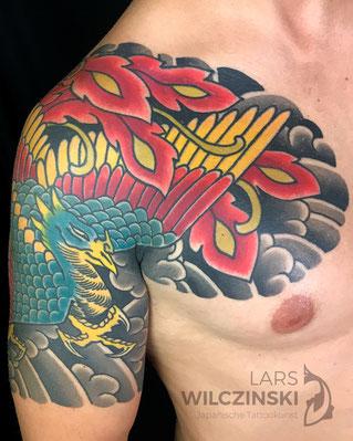 Lars Wilczinski, Tattookünstler, Tattoo-Atelier Berlin, Tattookunst, Japanische Tattoos, Japanese Tattoo, Japantattoo Motiv, Hou-ou, japanischer Phönix, Feuervogel