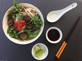 vegan pho with shiitake