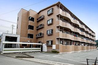 4階建てマンションを駐輪場も写るように角から奥行きを出して撮影