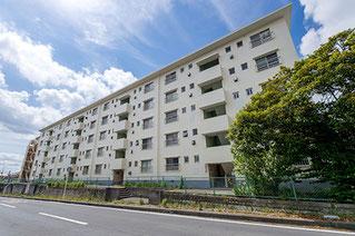 5階建てマンションを樹木や空が写る様に斜め下から撮影