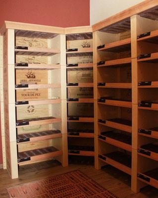 Casiers à vin en bois et béton