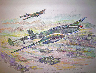 """ME-110's Over Russia"" Colored Pencil Sketch"