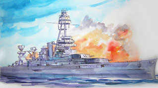 """Battleship of Texas In Action"" WC Sketch Watercolor sketch"