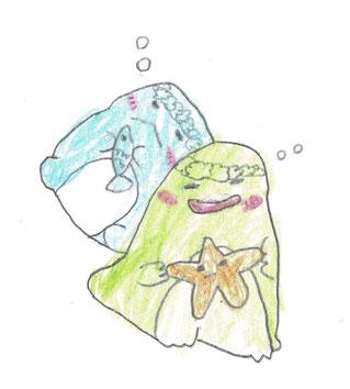 静岡市駿河区 勉強方法学習塾  小2👩作 「トカゲ」とのこと❓ 「ヒトデ」だよね(苦笑) 小2にしては、絵がうまいですよね👍