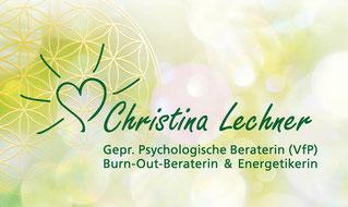Visitenkarte Christina Lechner, geprüfte psychologische Beraterin, Burn-Out-Beraterin, Energetikerin