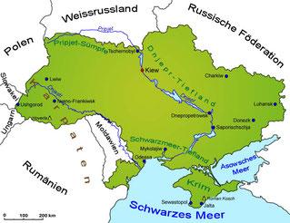 Karte Ukraine und Anreinerstaaten