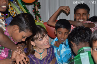 Marie amoung the children of Thambi Illam - December 2012