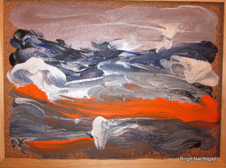 Zerfließendes Land, Acrylfarbe auf Kork.