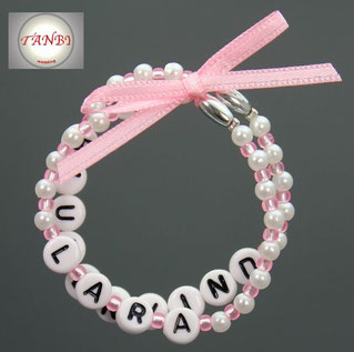 Armband-Blumenkind-Blumenmädchen-Namensarmband-Namensband-Kinderarmband-rosa-Hochzeit