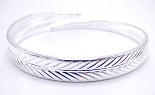 bracelet manchette femme plume argent