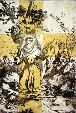 Franziskus am Berg La Verna Radierung, Druckgrafik, Gouache