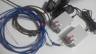 特注測定子機に熱電対を接続した様子