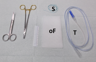 Material for construction of an OFD: openpore Drainagefilm (oF, CNP Drainagefilm Lohmann&Rauscher), gastro-duodenal tube (T), suture (S)