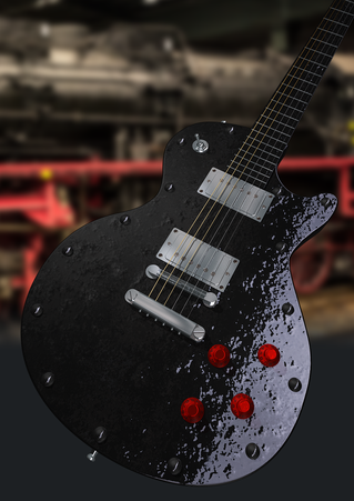 Grafisches Design einer E-Gitarre im Lok-Look