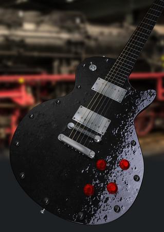 Grafisches Design einer E-Gitarre im Lokomotiven-Look mit knalligen Farben