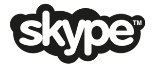 Skype logo in black and white