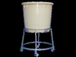 業務用つけもの容器台車(作業用)。丸桶、円形の漬け物ポリ容器を乗せて使用します。