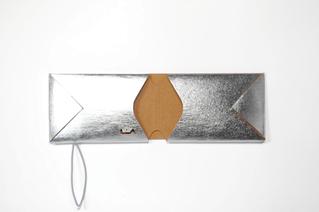 Kartenetui, card case, card holder REM silber/natur