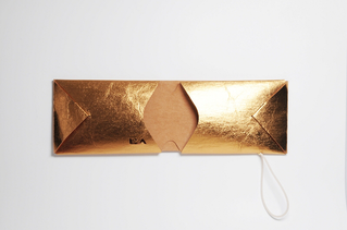 Kartenetui REM gold/natur  wallet card case visitenkartenetui