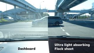 Dashboard/Ultra light absorbing flock sheet