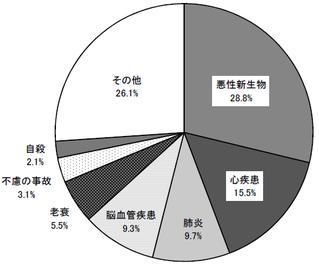 日本人の主な死因と死亡者数の割合を表したグラフ