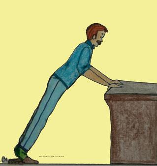 Zeichnung eines Mannes, der an einem Tisch eine Liegestütze macht