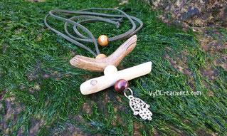 mano de fatima, collar mano de fatima, collar madera, maderas del mar, madera de mar, collar hippie