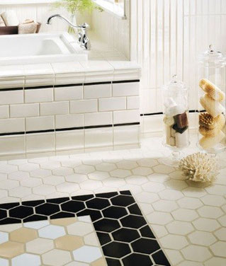 White and black ceramic bathroom tiles