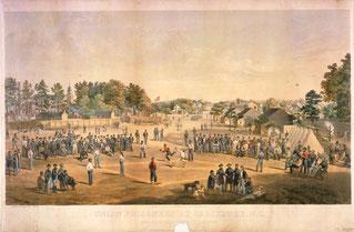 Nell'illustrazione dell'artista Otto Boetticher una partita di baseball tra soldati e prigionieri durante la guerra civile (clicca sulla foto per allargare)