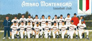 La formazione della Fortitudo Bologna sponsorizzata Amaro Montenegro Campione d'Italia 1972