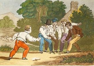 Nella foto un'illustrazione dell'artista Xavier Leprince - Palla prigioniera - Stampa del 1822