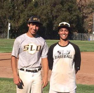 """Nella foto Federico Gambedotti (dx) con il suo """"fratello"""" ospitante dopo un allenamento californiano"""