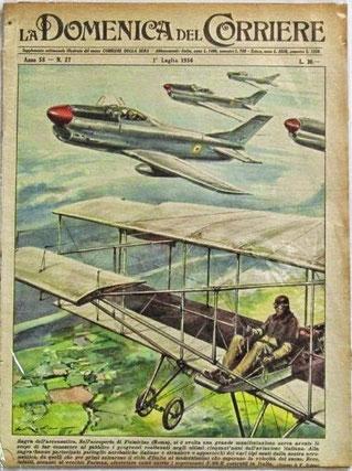 Copertina de La Domenica del Corriere del luglio 1956 che diede ampio spazio all'evento. (collezione privata)
