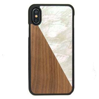 AQUA iPhone X case wood and seashell