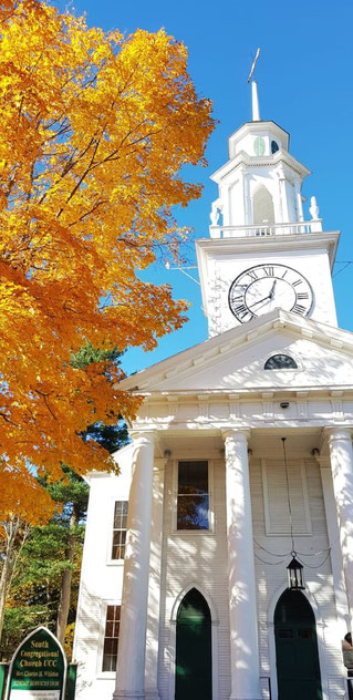 Amazing New England church in the fall